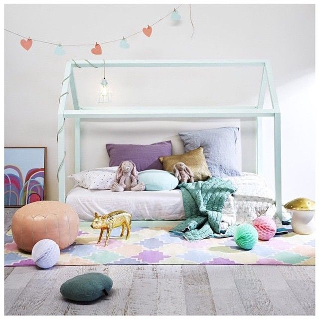 pale blue bed